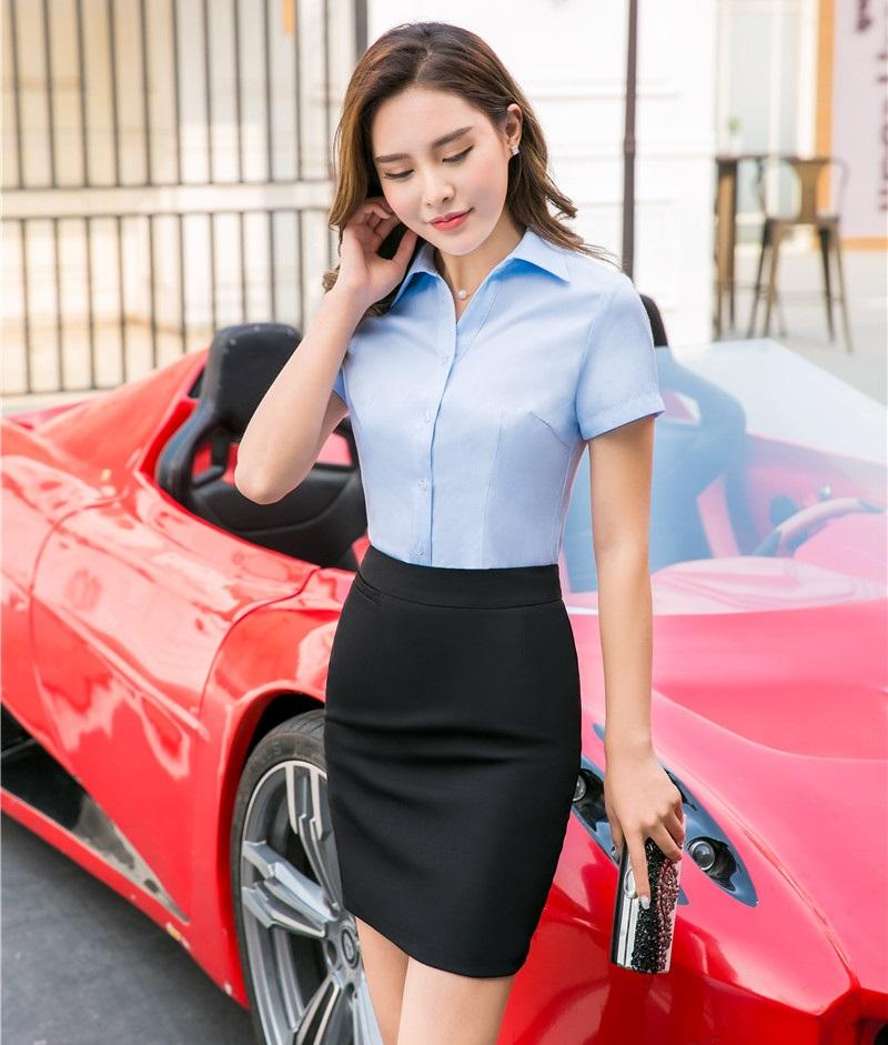 Summer Two Piece Sets Women Business Suits With Skirt And Blouse Sets Ladies Work Wear Shirts Tops Formal