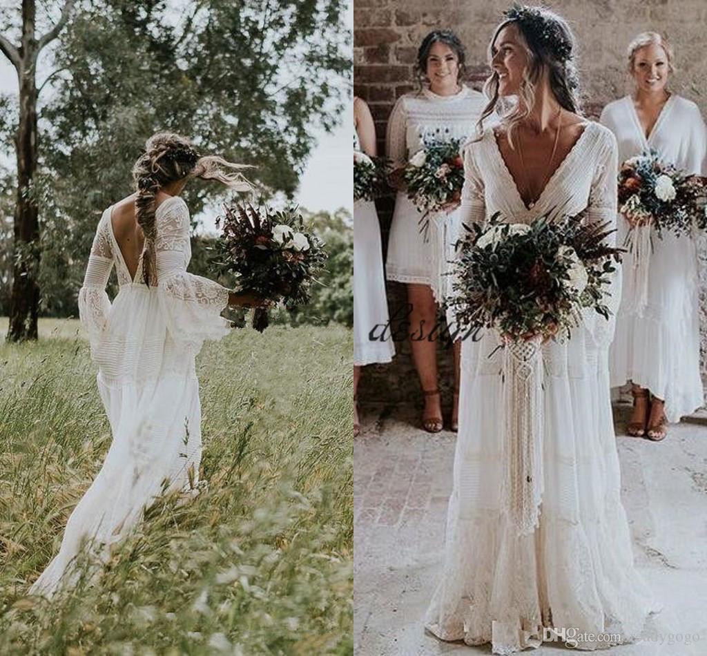 Gwendolyn Land Brautkleider V-Ausschnitt Häkelspitze Vintage Sommer Strand Bohème Langarm Brautkleid Frankreich Vestido De noiva
