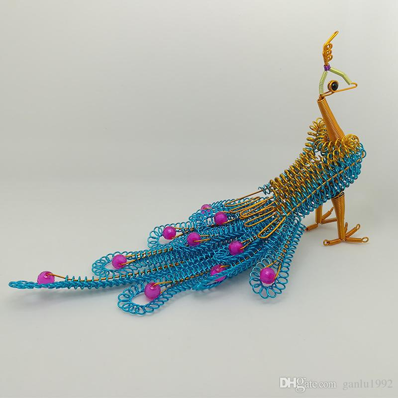 Originality Hand Woven Peafowl Color Small Gift Toy Manual Aluminum Wire Children Funny Arts And Crafts Peacock 13wx W