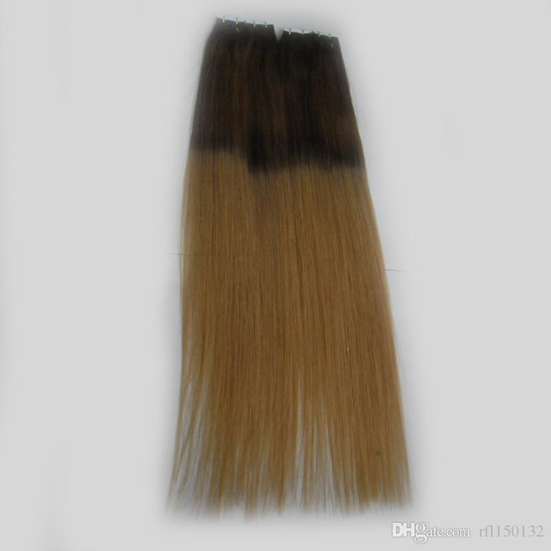 Ombre Tape In Hair Extensions Human Hair Remy Colored Extensions