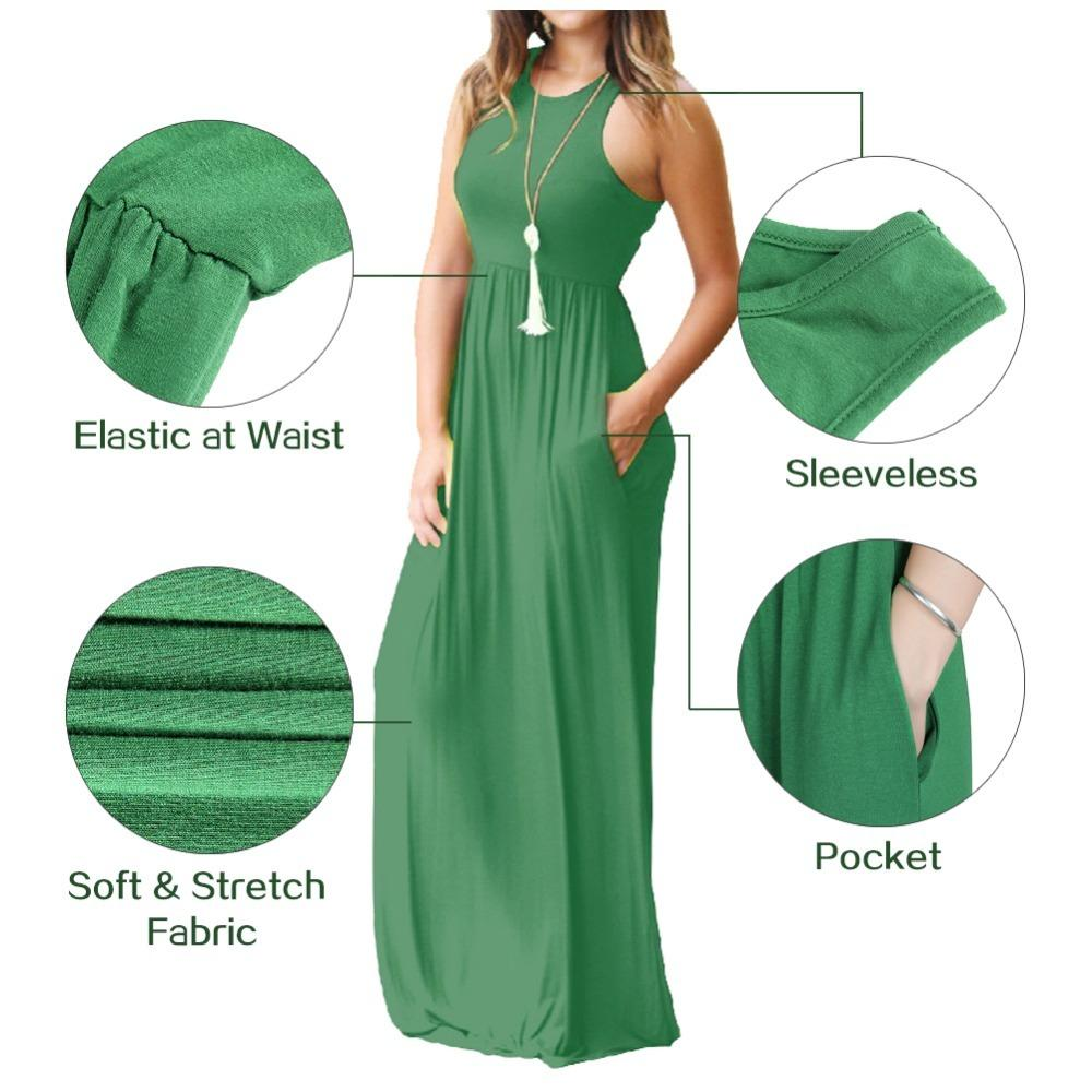 online for sale luxuriant in design more photos Sleeveless Women Maxi Dress 2018 Summer Casual Pocket Long Dresses Beach  Boho Sexy Tank Femme Sundress GV596