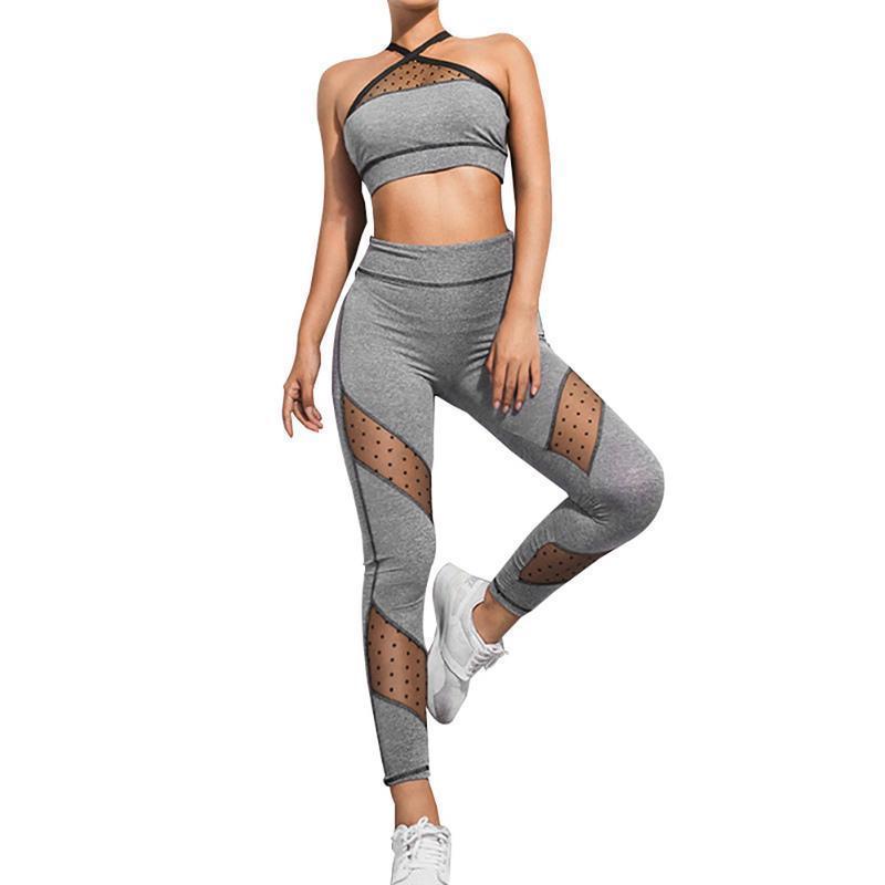 Acheter 2018 Nouveau Costume De Sport Femmes Yoga Soutien Gorge + Pantalons  De Yoga Fitness Yoga Set Imprimé Entraînement Gym En Cours D exécution  Patchwork ... 6282be5e4ee