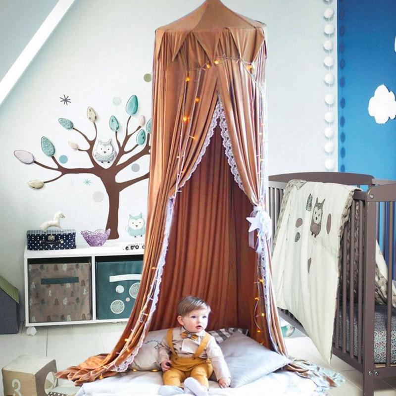 Grosshandel Circular Brown Canopy Bett Volant Zimmer Dekoration Bett
