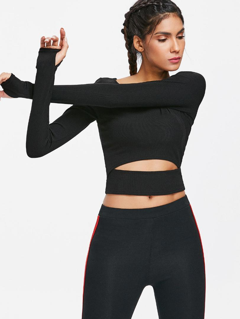 06ca000cf281 2019 High Quality Women Nylon Spandex Long Sleeve Cut Out Solid Crop Top  Gym T Shirt Round Neck Sport Top For Yoga Gym Outdoor Sports From Yerunku