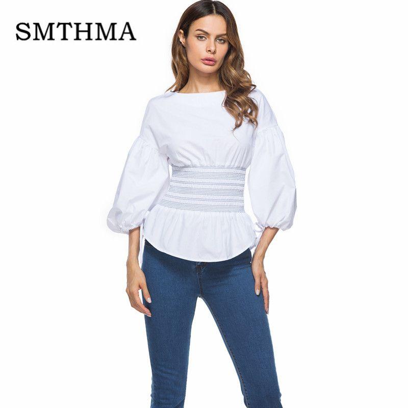 Smthma Bouffantes Manches Chemisier Nouvelle Mode 2018 Blanc Acheter IYEH9WDbe2
