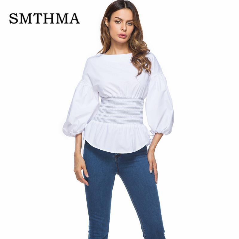 c748661b9 SMTHMA 2018 nueva moda manga de soplo blusa blanca mujer camisa elegante  cola de milano Tops ropa formal para Office lady