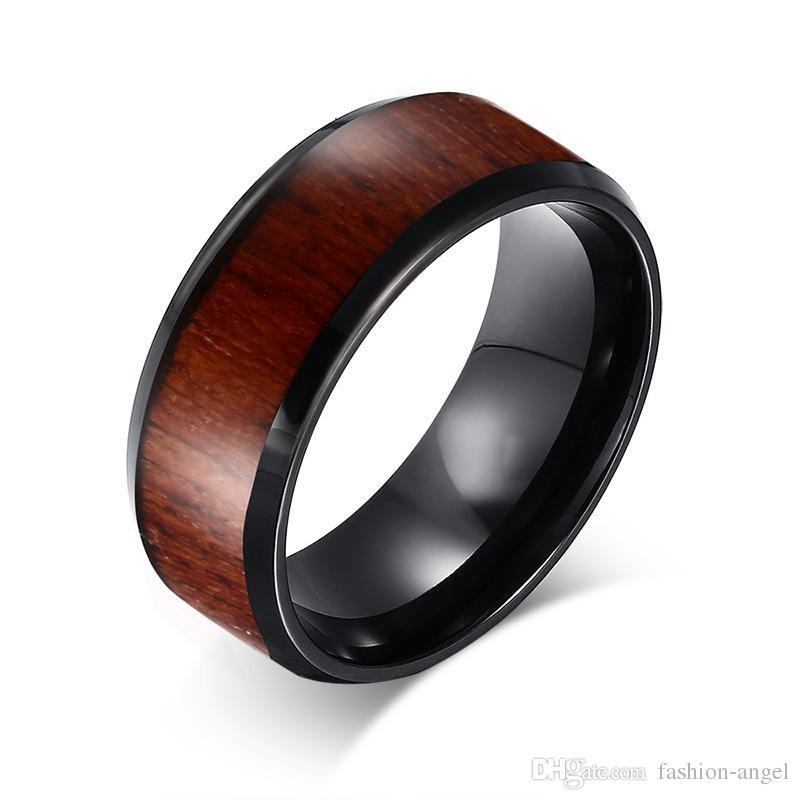 buscar genuino gran selección venta oficial Anillo de carburo de tungsteno de los hombres de regalo de San Valentín  anillo de línea de madera anillos de dedo joyerías joyas de orden mezclada  ...