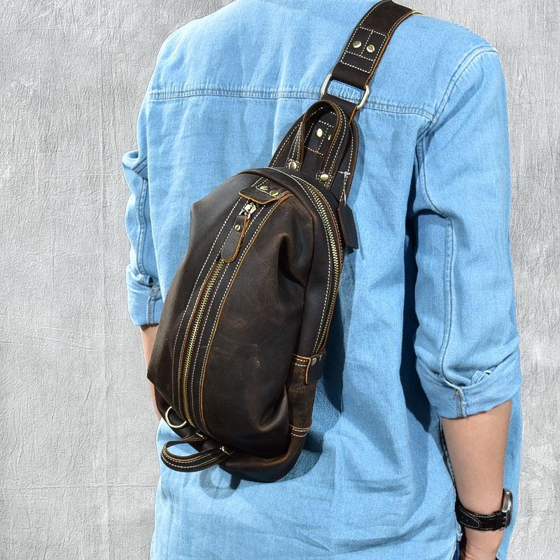 577d7bec7 Genuine Leather Mens Crossbody Bags For Men Messenger Chest Bag Pack Casual  Bag Single Shoulder Strap Pack Diagonal Package Fannypack Shoe Bags From ...