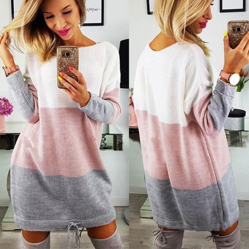 0e64fb5e7297 Suéter de punto de las mujeres vestido de otoño primavera ropa oficina dama  algodón ocasional manga larga o cuello patchwork mini vestido
