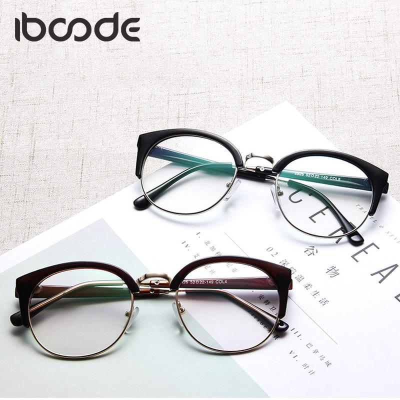 d0989aa95f 2019 Iboode Retro Cat Eye Glass Frame Women Men Vintage Clear Lens Half Rim  Eyeglasses Plain Eyewear Myopic Fashion Goggles From Stirringoa