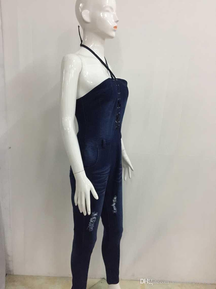Wholesale- 2017 new fashion sexy summer bandage Women Fashion Denim Jeans BIB Pants Overalls Straps Jumpsuit Rompers Trousers
