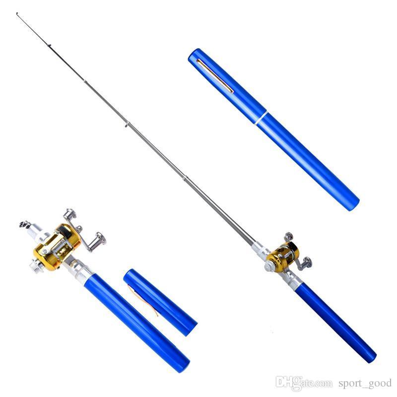 Nuevo bolsillo portátil telescópico mini caña de pescar aleación de aluminio forma de pluma caña de pescar con rueda de carrete