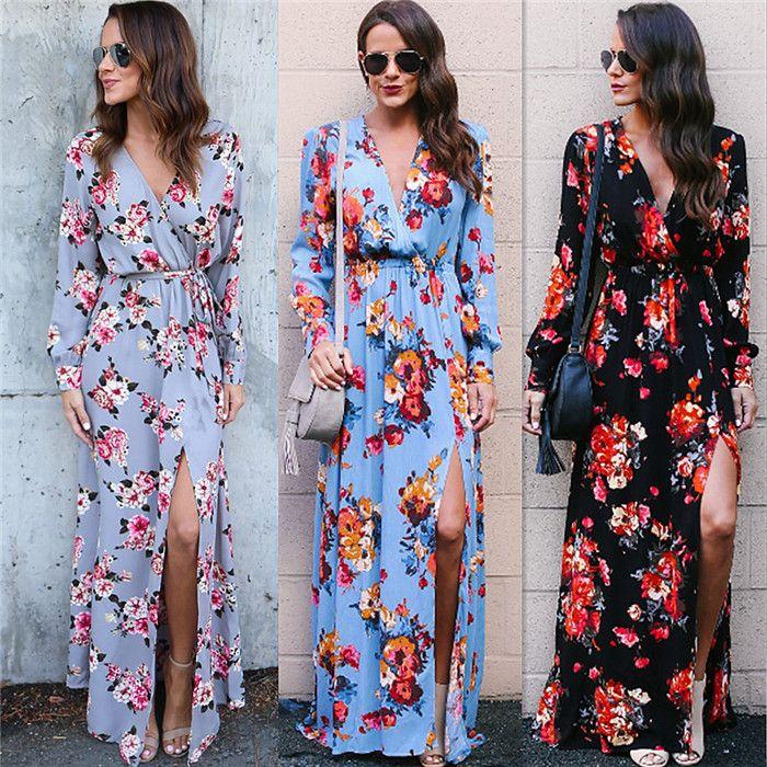 Floral Print Maxi Dress 2018 Boho Style Sexy High Split With Belt Wrap  Dresses Women Spring Summer Beach Robe Vintage Party Vestidos Red Dress  Little Black ... f9733fcfe7a0