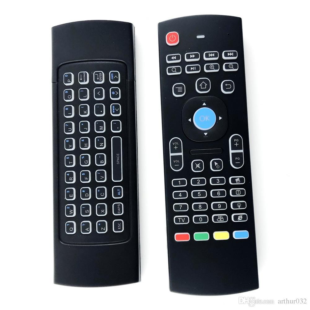 X8 Hintergrundbeleuchtung MX3-Tastatur mit IR-Lernen QWERTY 2.4G drahtlose Fernbedienung 6AXIS Fliegen-Luft-Mausgampad für Android-TV-Box I8