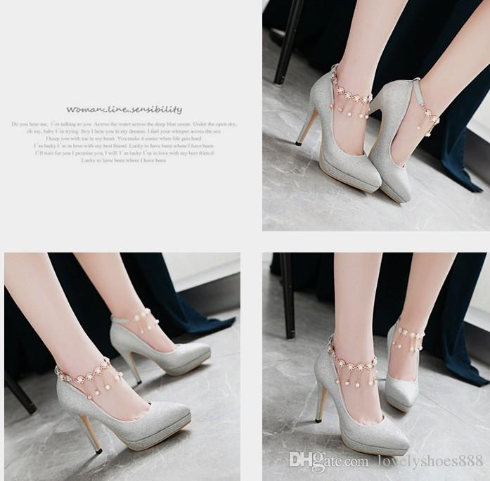 one word button sexy pointed toe sliver gold high heel 11cm platform diamond tassels dress shoes440