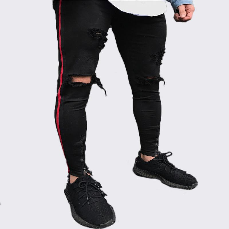 587576c43546 2019 Men Side Red Stripe Biker Jeans Denim Ripped Holes Slim Supper Skinny  Hip Hop Jeans Men From Taigao