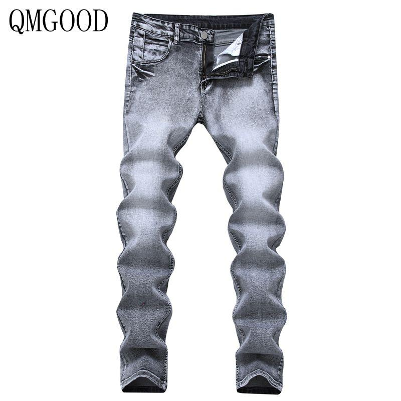 d178c222af Compre Qmgood Nueva Venta Caliente Retro Jeans De Los Hombres Skinny  Stretch Casual Straight Slim Fit Gris Jeans Hombre Pantalones De Mezclilla  Pantalones ...