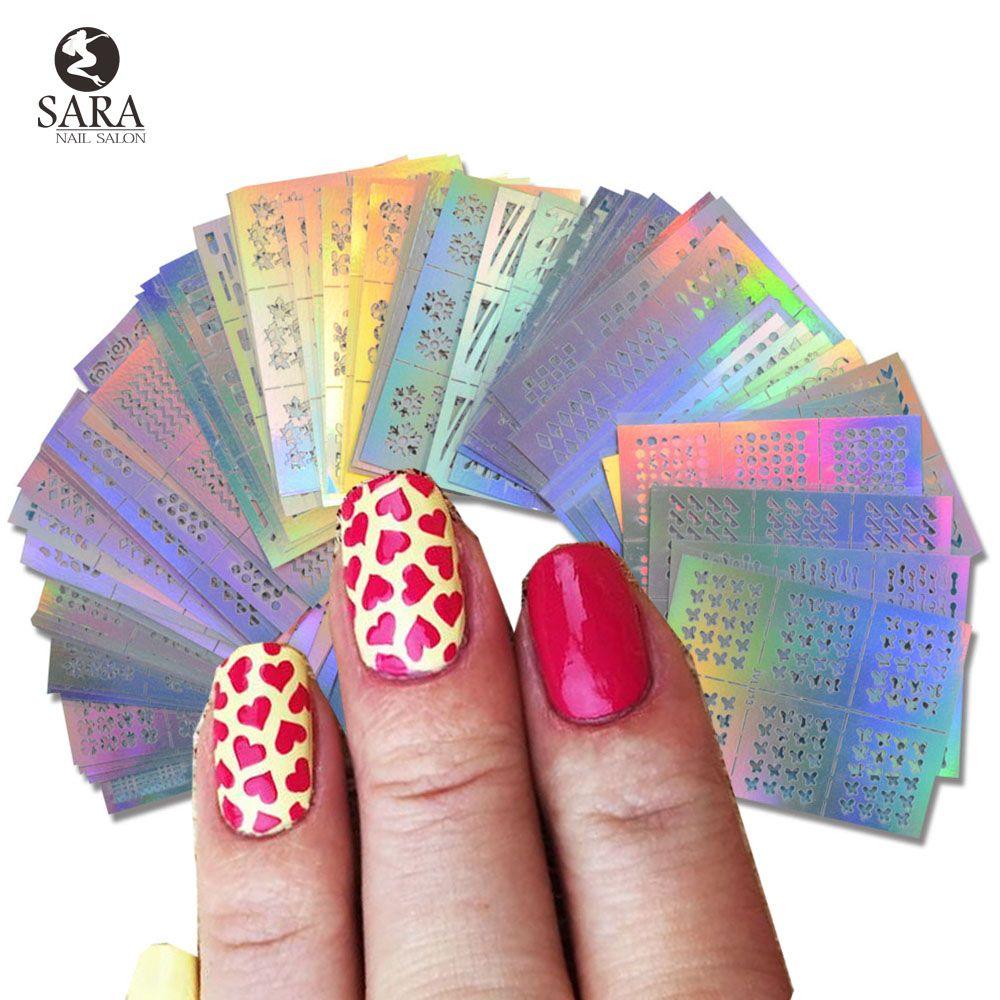 Fashion Nail Vinyls Hollow Irregular Grid Stencil Reusable Manicure ...