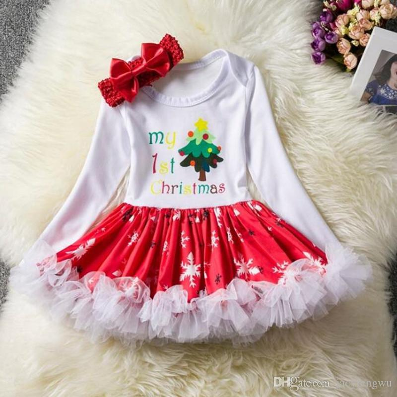 d85f61a00f865 Baby Christmas Clothing Sets Girls boys Santa Clothes Head band cotton  Sleeve Jumpsuits Infant Rompers children Toddler Boutique 0-24M BB044