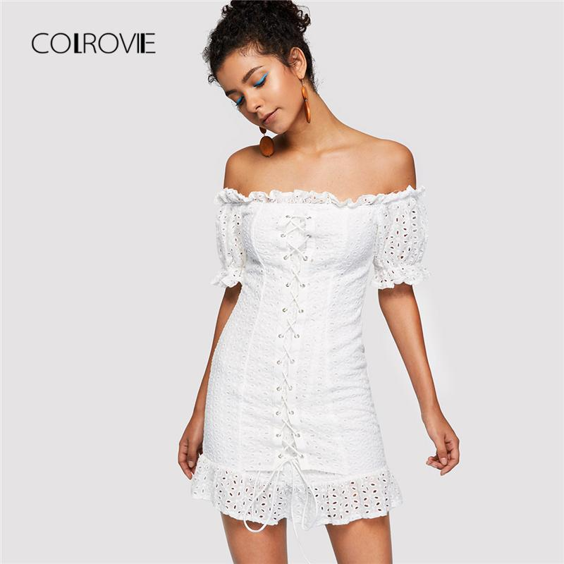 bad393fd5fee COLROVIE White Ruffle Grommet Lace Up Front Eyelet Embroidered Summer Dress  Off The Shoulder Elegant Mini Dress Women Women Long Dress Floral White  Dress ...