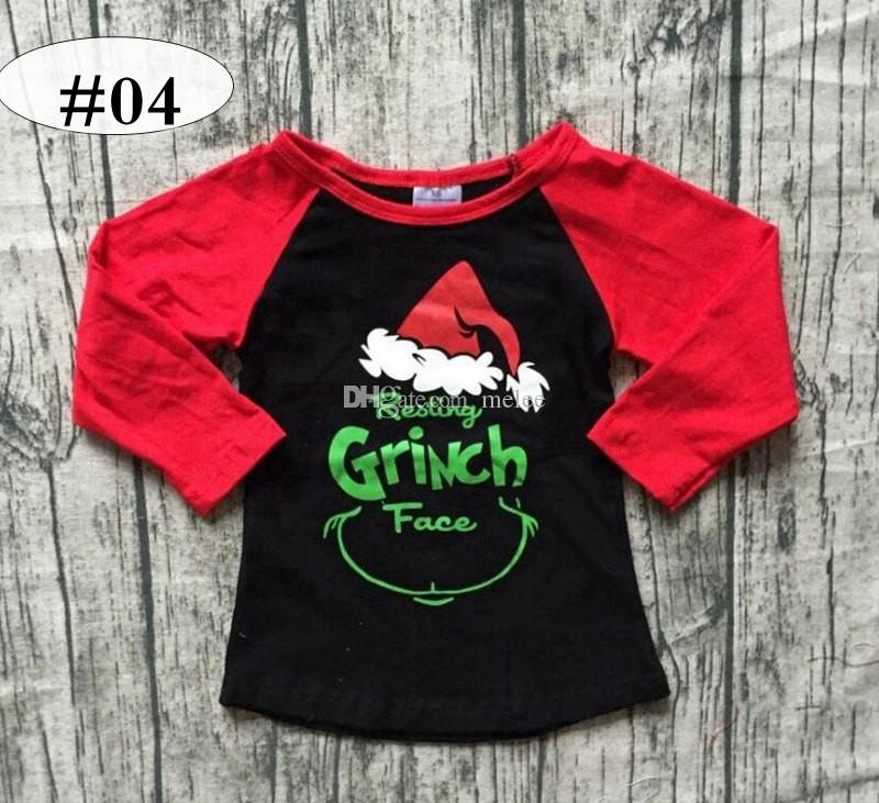 99e26d29ebb 2019 Resting Grinch Face INS Xmas Unicorn Print Christmas Kids Cotton  Ruffle Tshirt Baby Red Ruffle Raglan Black Tshirts Tops 20styles Choose  From Melee
