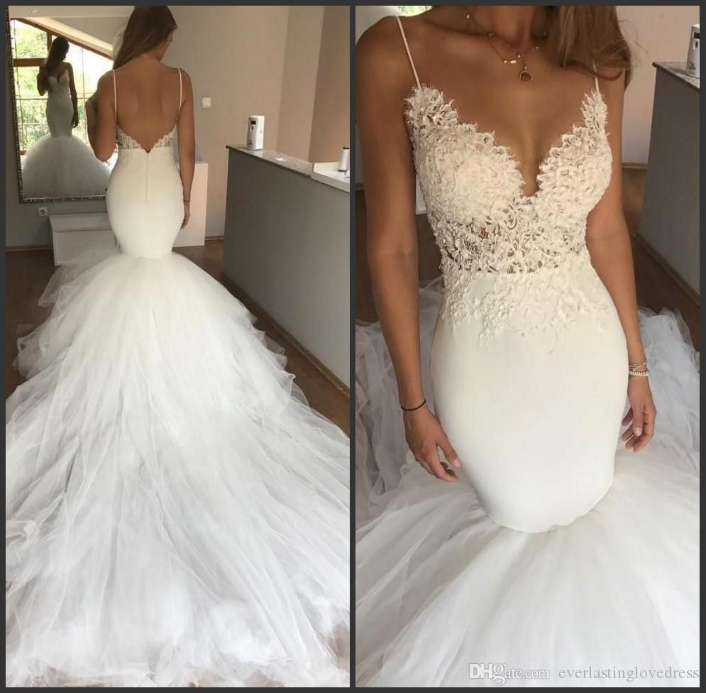 Satin Tulle V Plunging Low Cut Back Spaghetti Mermaid Wedding Bride Gown  Vestido De Novia Playa Aliança De Casamento Sweetheart Mermaid Wedding  Dresses ... 7e37dadfb