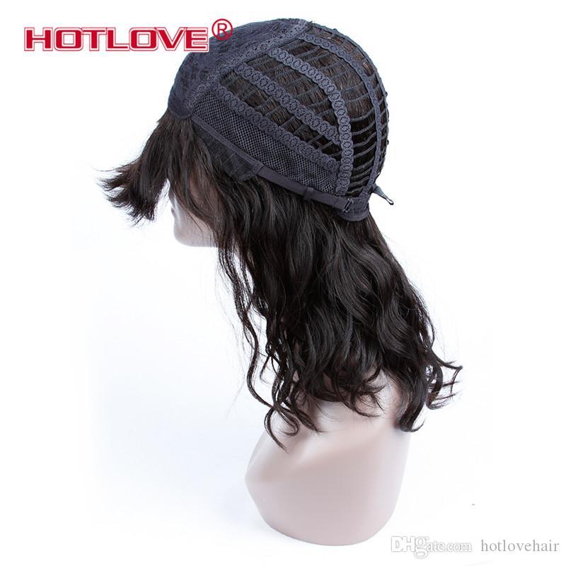 Hotlove البرازيلي موجة الطبيعية شعر الإنسان الباروكات للنساء السود 150٪ الكثافة اللون الطبيعي متوسطة الباروكات مع أيا الدانتيل 12 بوصة HR-A01679