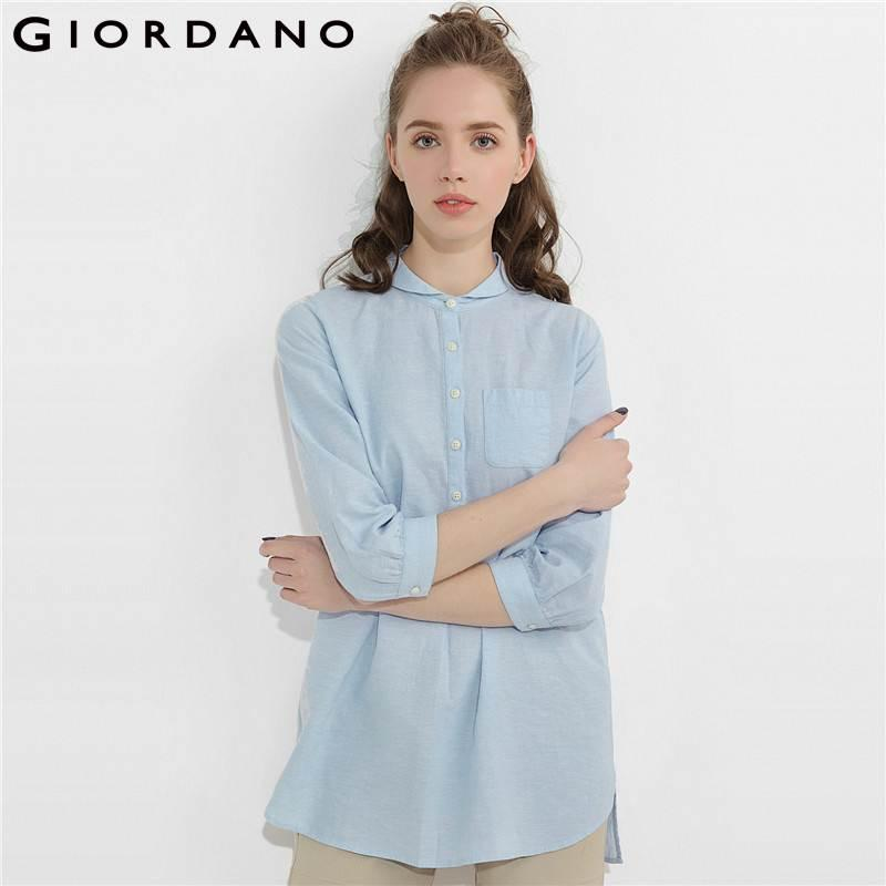 90d654e375817 2019 Giordano Women Blouse Linen Cotton Peter Pan Collar Blusa Feminina  Shirt Button Three Quarter Sleeves Women Camicetta From Baicao