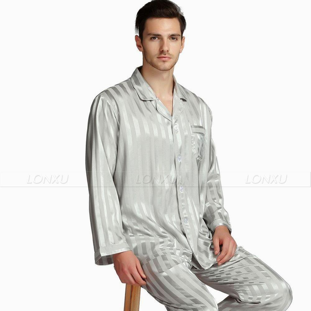 2019 Mens Silk Satin Pajamas Set Pajama Pyjamas Set Sleepwear Set  Loungewear U.S.S 5af403ffe