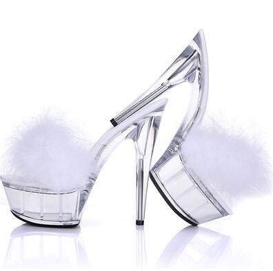 Acquista Sexy Bird Feather Pelliccia PVC Sandali Slingback Tacchi Alti  Sandali Slipper Scarpe Pompe Trasparenti Stiletto Night Club Ball Crystal  Shoes A ... 42e2dc6b17b