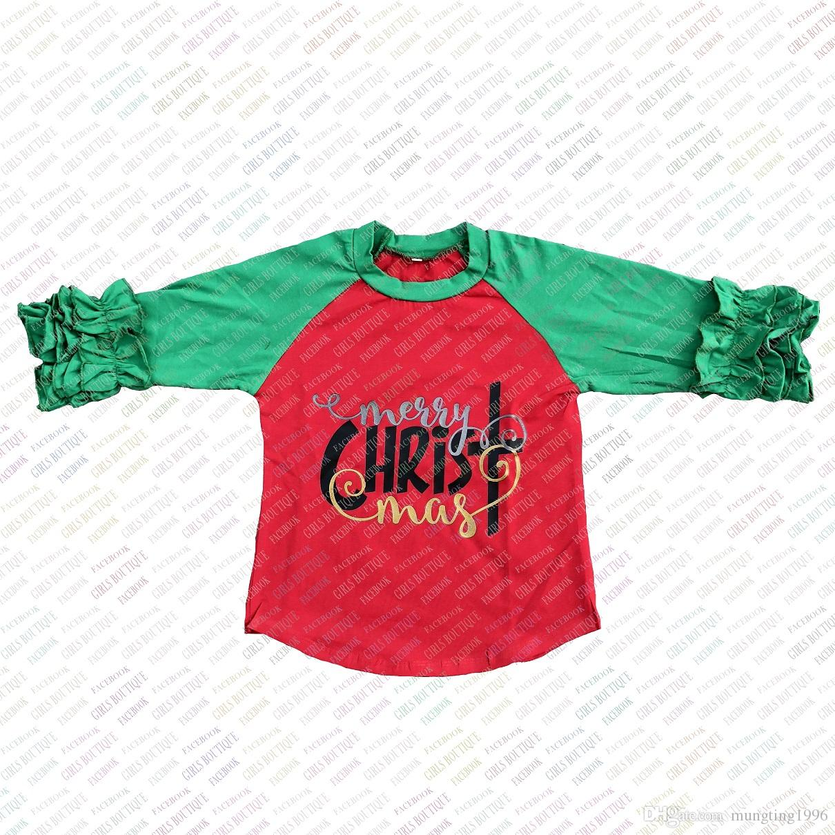 2018 merry christmas kids raglan shirts fallwinter baby girls icing ruffle t shirts children boutique cotton 34 sleeve tops from mungting1996