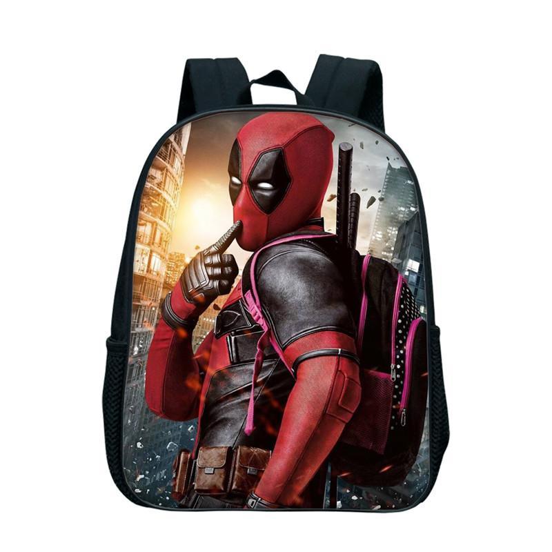 a28eec8cbef5 12 Inch Anime Superhero Deadpool Backpack Rucksack Girl Boys School Bag  Travel Laptop Bag Kindergarten Bookbag For Children Kids Leather Backpack  Laptop ...
