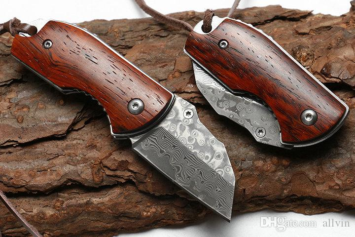 DHL Shipping EDC Pocket Knife Damscus Steel Blade Rosewood + Steel Sheet Handle Mini Small Keychain Folding Knives