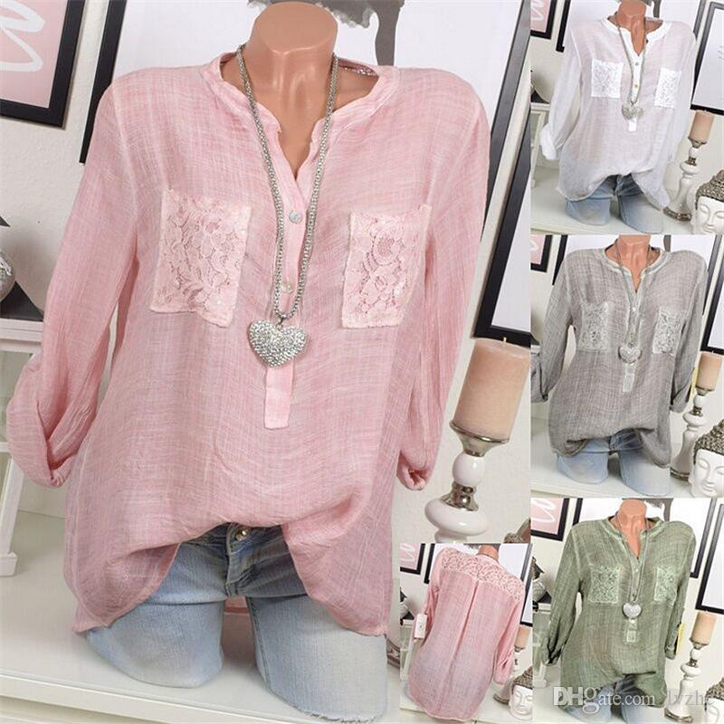 819f2fde90a040 2018 New Womens Ladies Sexy Long Sleeve Lace Splice Baggy Shirt Loose Tops  Blouse Plus Size Funniest Tee Shirts Fun Tee Shirt From Lvzhe, $11.64   DHgate.Com
