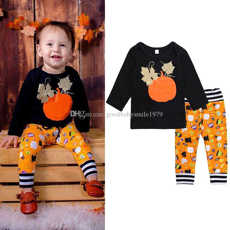 524cda37c 2019 Children Halloween Outfits Baby Boys Girls Pumpkin Sets Kids Long  Sleeve Printed T Shirt + Pants Set Spring Autumn Boutique Clothes From ...
