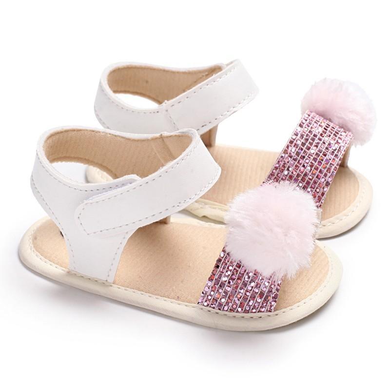 f83d67358f90f Acheter Nouveau Né Bébé Sandales Pour Filles De Mode Bébé Fille Chaussures  Boule De Cheveux Brillant Fille Sandales Coton Doux Plage Pour De  34.51 Du  ...