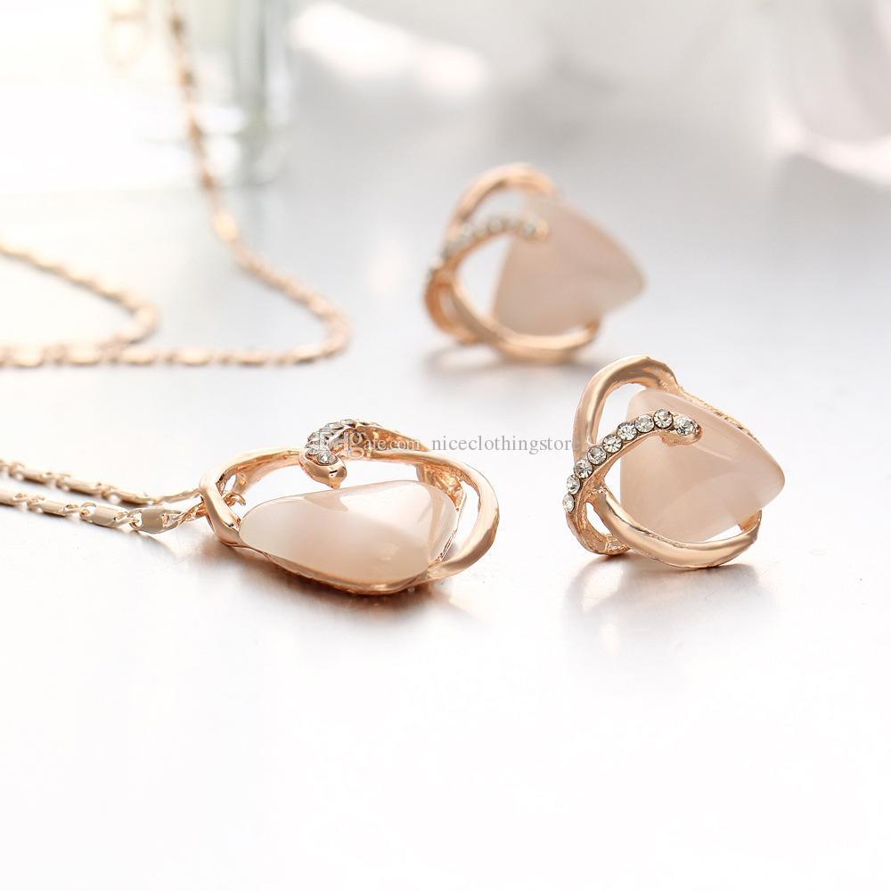 2018 new style triangle cat eye stone earrings & necklace set fashion alloy crystal stud jewelry women girls gift