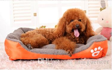 Pet Dog Bed Dog Kennels Candy Color Puppy Cat House Winter Warm Soft Dog Nest Rectangle