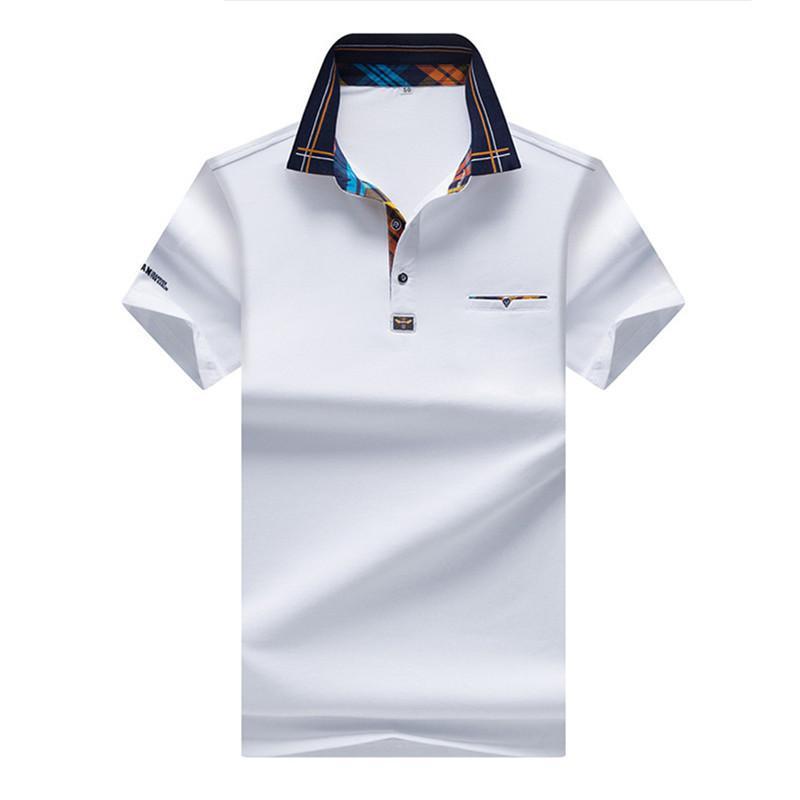 Compre Camisa De Polo De Los Hombres Del Diseñador Color De Moda Hit  Lattice Collar Casual Color Puro Paul Camisa Polo De La Marca Ropa De Hombre  A  48.74 ... 38ae61ce82c7b