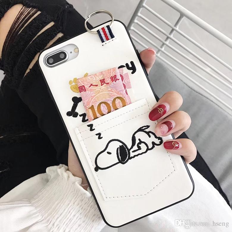 size 40 b0bde b852a Cartoon Snoopy Embroidered Leather Wallet Clutch Pouch Card Slot Holster  Phone Case for iPhone XS Max XR 6s 7 8 Plus 6.5