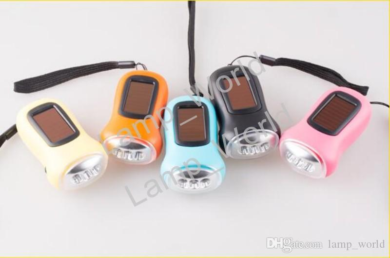 Waterproof Hand crank or built in Solar powered 3 LED Flashlight, High power 3 functions LED
