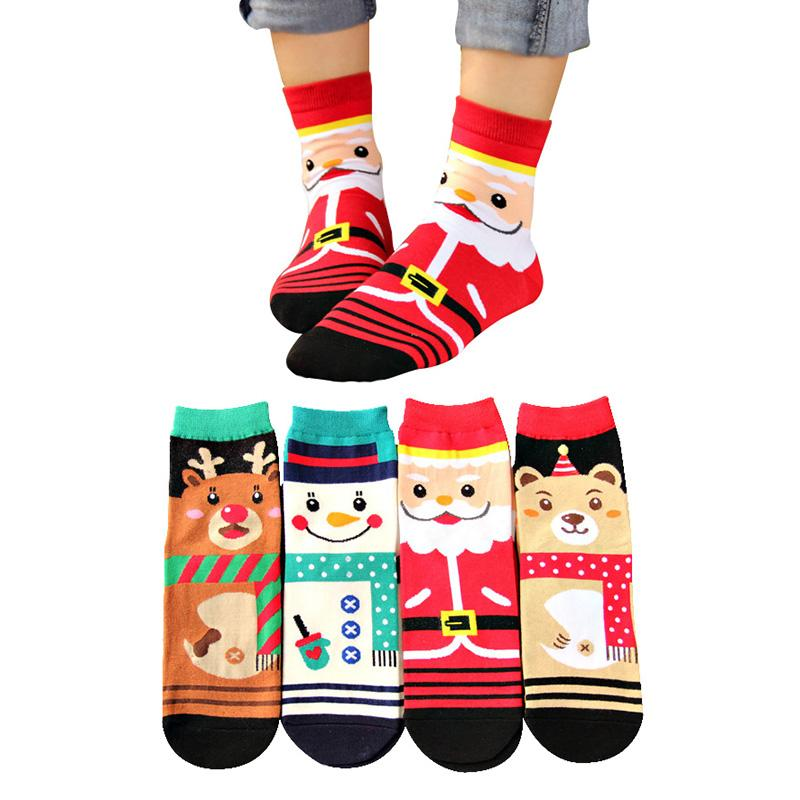 4 Pairs Women Christmas Short Socks Lovely Cute Cartoon Santa Claus Snowman Deer Bear Funny Women Sock Comfortable Cotoon Meias