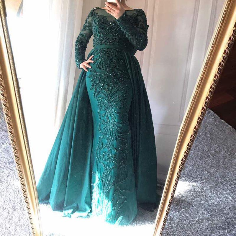 2018 Muslim Long Sleeve Sheer Neck Mermaid Formal Evening Party Prom Dress  Arabic Evening Gowns Dresses Abendkleider Special Occasion Dress Shop Formal  ... 321af45fd629