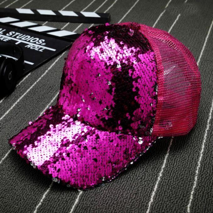 Sequin Baseball Hat Glitter Dance Party Mesh Sun Snapback Cap for Women Men Paillette Curved Hip Hop Caps Mens Snapback Hats