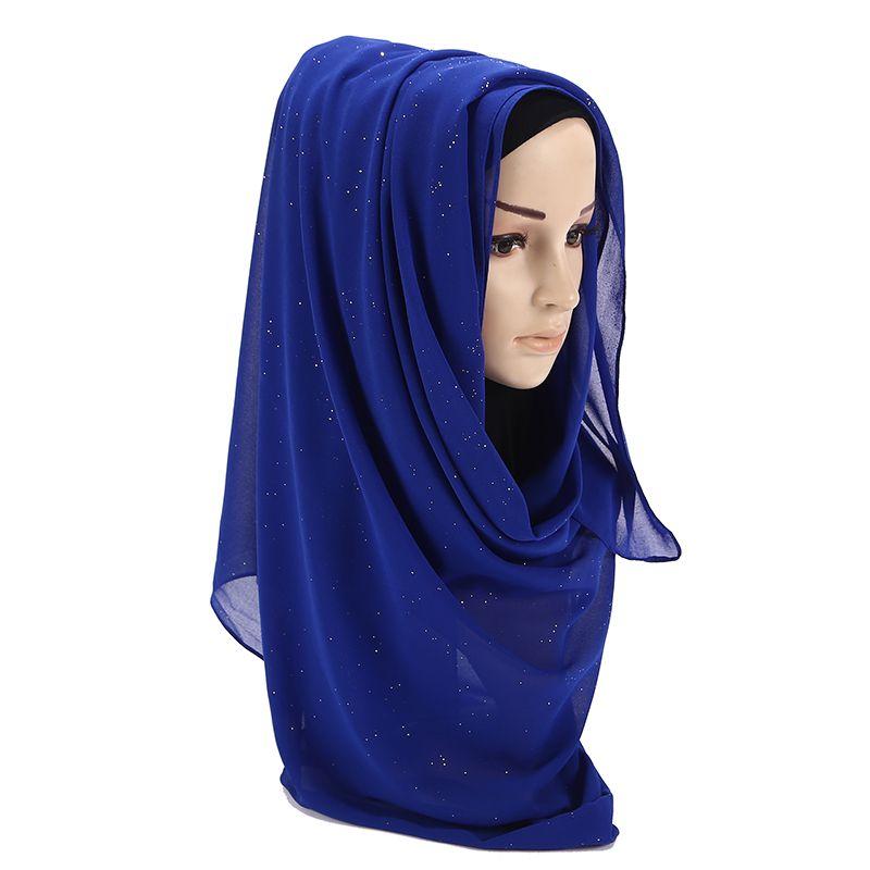 11b9534304c Acheter Écharpe En Mousseline De Soie Bulle Châles Hijab Plaine Chatoyant Long  Bandeau Enveloppement Écharpe Hijab Musulmane Avec Des Paillettes 20  Écharpes ...