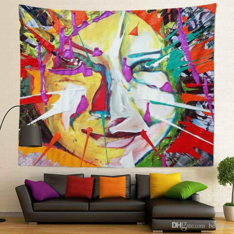 Abstract Figure Design and Sublimation Printed High Resolution Colorful Custom Size 400g Wall Tapestry for Home Decoration