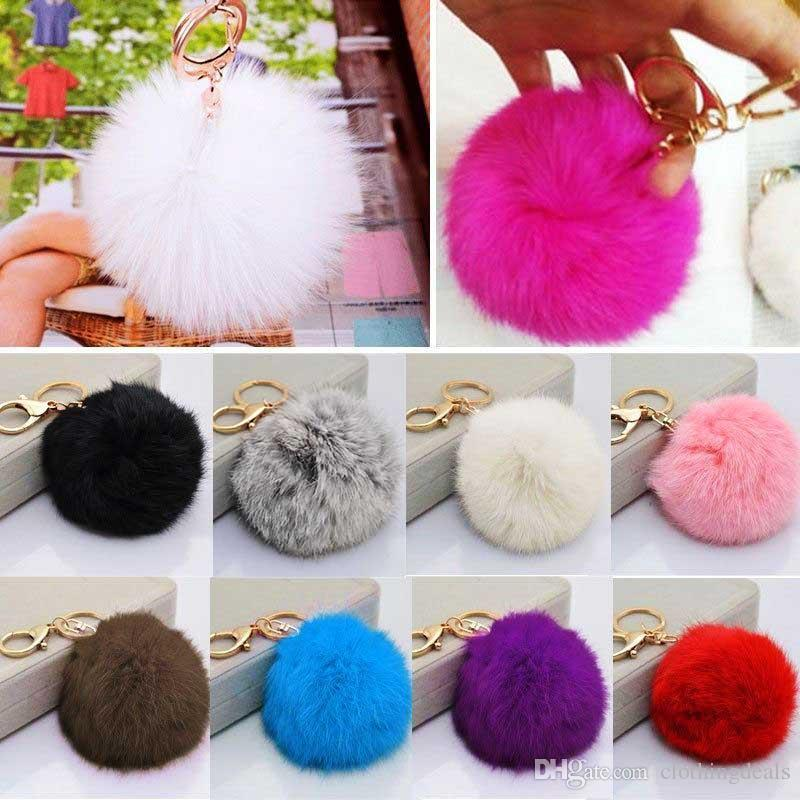 Hot Cute Furry Rabbit Fur Ball Keychain Handbag Grey Pink Black Furry Pendant Key Chain Keyring Bag Charms For Women Girls Gift
