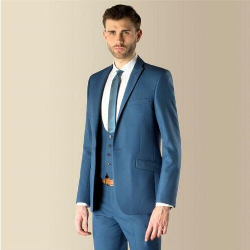 2018 New Blue Formal Mens Suits Jacket+Pants+Vest+Tie Slim Fit Groom ...