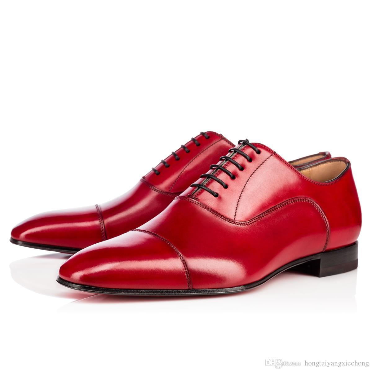 Nuovo modo caldo pattini inferiori rossi Greggo Orlato Ballerine Oxford del cuoio genuino delle donne Mens Walking Appartamenti festa di nozze fannulloni 38-47