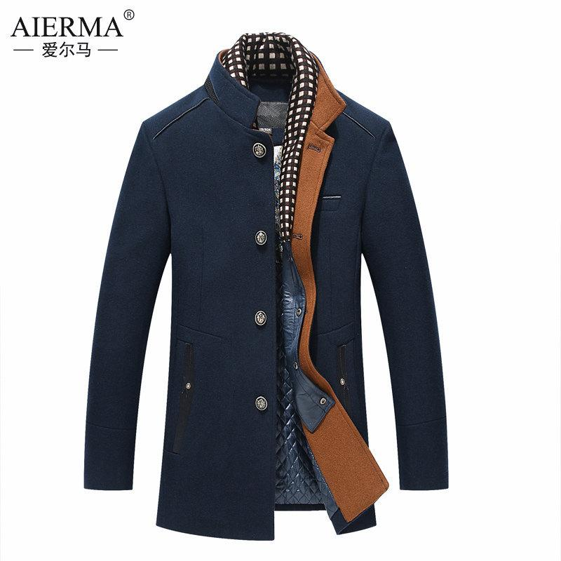 554ee3214a0 2019 Business Coats Peacoat Overcoats Long Jackets Men Woolen Winter  Steampunk Fear Of God 2018 Navy Buttons Windbreaker Dust From Cover3127